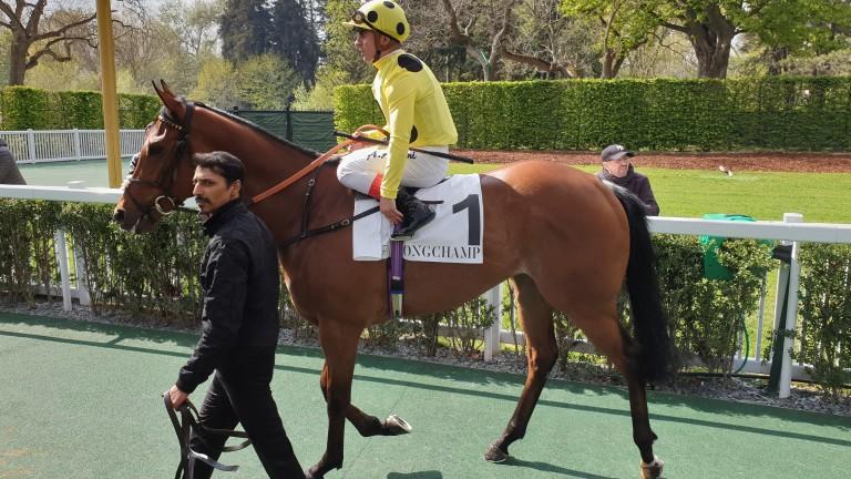 Imperial Charm and Andrea Atzeni head out for the Prix de la Grotte at Longchamp