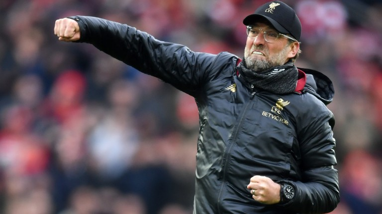 Liverpool manager Jurgen Klopp celebrates the final whistle of their win over Chelsea