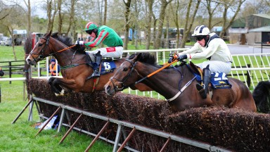 Ballysteen PTP 14-4-19 JANUARY JETS & Derek O'Connor (left) jump the last to win the 5YO Geldings Maiden Race as UGO DU MISSELOT & Stephen COnnor (right) part company)(Photo Healy Racing)