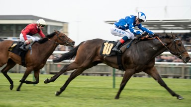 Qabala (David Egan) beats Mot Juste to give trainer Roger Varian a 1-2 in the Nell Gwyn StakesNewmarket 16.4.19 Pic: Edward Whitaker
