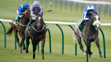 NEWMARKET, ENGLAND - APRIL 16: Silvestre De Sousa riding Shine So Bright win The bet365 European Free Handicap at Newmarket Racecourse on April 16, 2019 in Newmarket, England. (Photo by Alan Crowhurst/Getty Images)