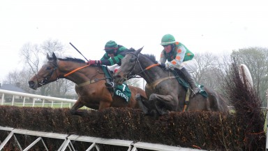 Dromahane PTP 14-4-19 BOBHOPEORNOHOPE & Shane O'Rourke (left) jump the last to win the 4YO Maiden race from BLACK GERRY (right)(Photo Healy Racing)