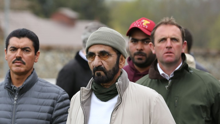 Sheikh Mohammed (centre) with Charlie Appleby (right) at Park Paddocks on Tuesday