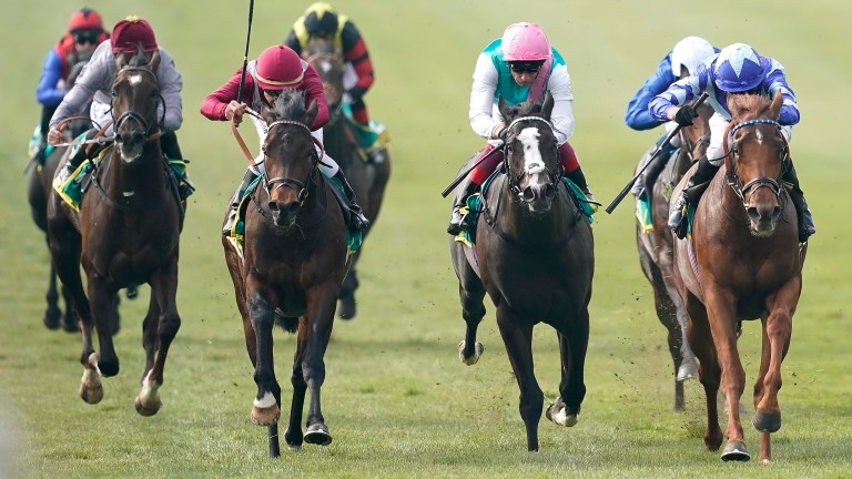 NEWMARKET, ENGLAND - APRIL 17: James Doyle riding Skardu (R, blue) win The bet365 Craven Stakes at Newmarket Racecourse on April 17, 2019 in Newmarket, England. (Photo by Alan Crowhurst/Getty Images)