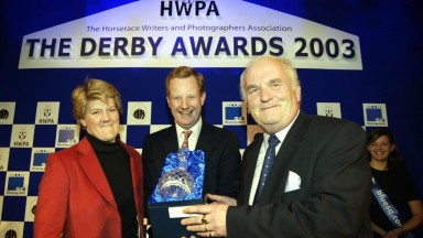 Doug Moscrop (right) and Clare Balding are announced joint-winners of the Journalist of the Year award by the Earl of Derby