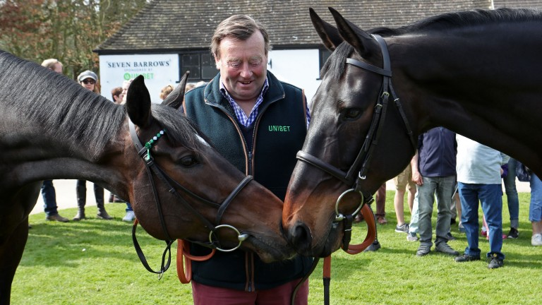 Stars on show: Nicky Henderson with his Champion Chase winners Altior (left) and Sprinter Sacre at the Lambourn open day