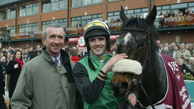 Numbersixvalverde with trainer Martin Brassil and Ruby Walsh after the 2005 Irish Grand National