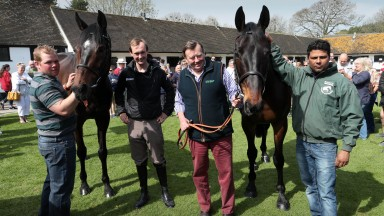 Lambourn Open Day 19.04.2019Seven Barrows.(left) ALTIOR and (right) Sprinter Sacre.People left to right are Robert Land,Nico de Boinville, Nicky Henderson & Sarwar Mohammed.PIC: Matthew Webb