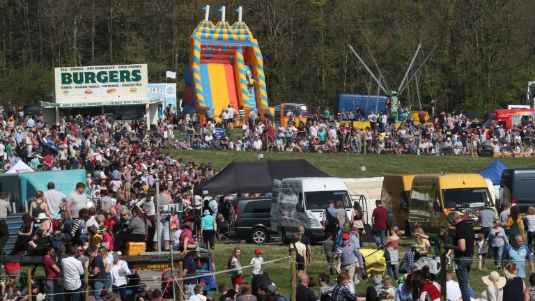 A packed crowd enjoy the glorious weather in Lambourn