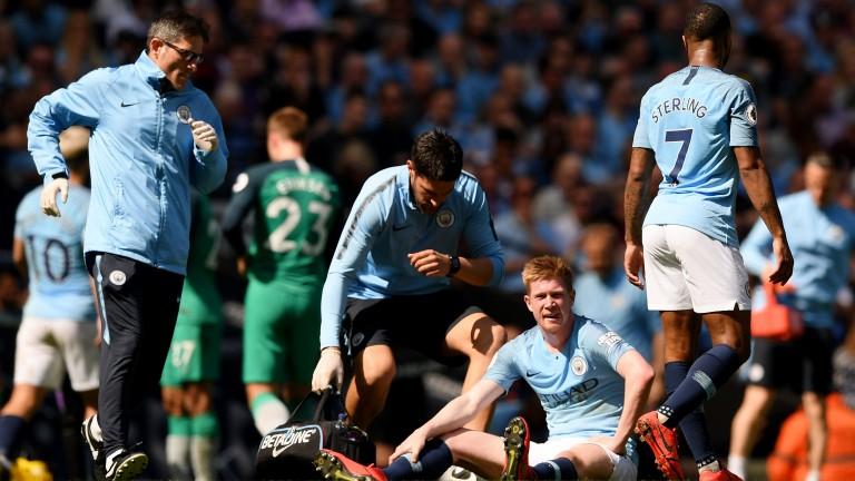 Manchester City's Kevin  De Bruyne injured his hamstring against Tottenham