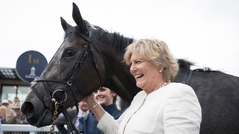 Jessica Harrington with Alpha Centauri after winning the Tattersalls Irish 1,000 Guineas.The Curragh.Photo: Patrick McCann 27.05.2018