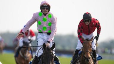 Ruby Walsh celebrates winning the Irish Grand National on Burrows Saint.FairyhousePhoto: Patrick McCann/Racing Post 22.04.2019