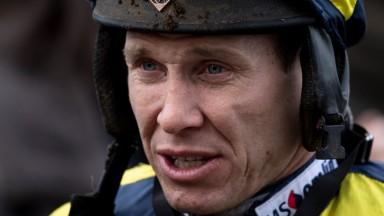 Game face: Richard Johnson at Newbury in December