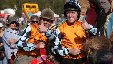 The Lambourn Open Day 19.04.2019Camel Race Final, WinnerJamie Osborne & Runner up Sir A. P. McCoyPIC Matthew webb