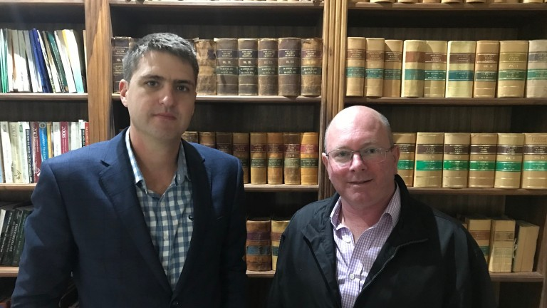 John Grewar (left) and Adrian Todd both hopeful of direct trade resuming with the EU