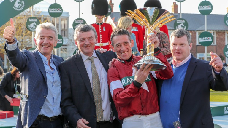 Celebration time: from left, Michael O'Leary, Eddie O'Leary, Davy Russell and Gordon Elliott after Tiger Roll's second Grand National success