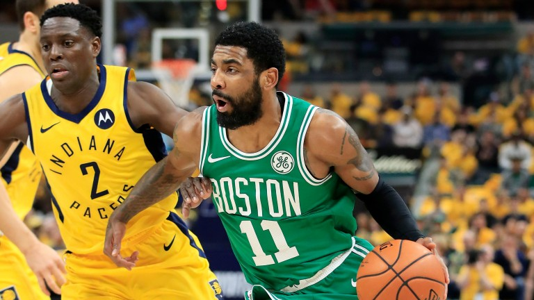 Kyrie Irving Boston dribbles the ball against the Indiana Pacers