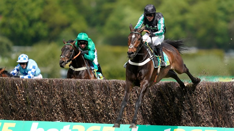 Altior: jumps the final fence en route to winning last year's Celebration Chase at Sandown