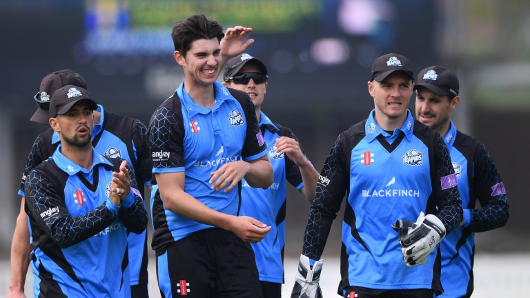Worcestershire celebrate a wicket for fast bowler Josh Tongue in the win over Durham