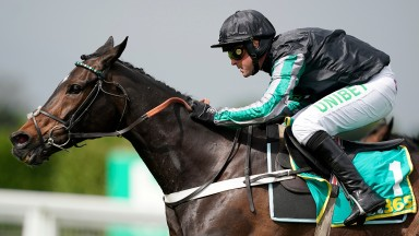 ESHER, ENGLAND - APRIL 27: Nico de Boinville riding Altior clear the last to win The bet365 Clebration Steeple Chase at Sandown Park on April 27, 2019 in Esher, England. (Photo by Alan Crowhurst/Getty Images)