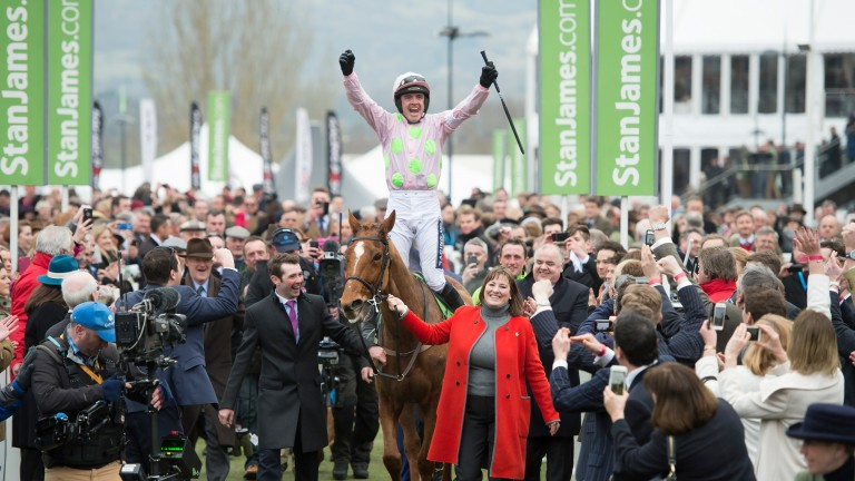 Annie Power and an ecstatic Ruby Walsh after the Champion Hurdle