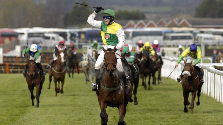 Ruby Walsh celebrates on Hedgehunter after their dominant 2005 Grand National win