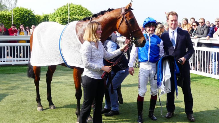 Plumatic produced a fine turn of foot under  Vincent Cheminaud to run down Olmedo and Mer Et Nuages for victory in the Group 2 Prix du Muguet at Saint-Cloud on Wednesday
