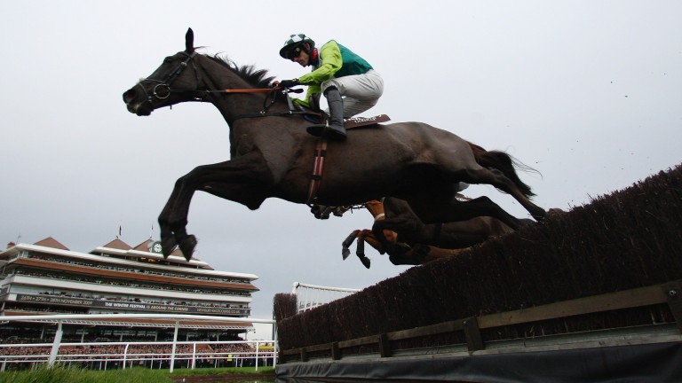 Ruby Walsh and Denman clear the water jump before landing the 2009 Hennessy Gold Cup