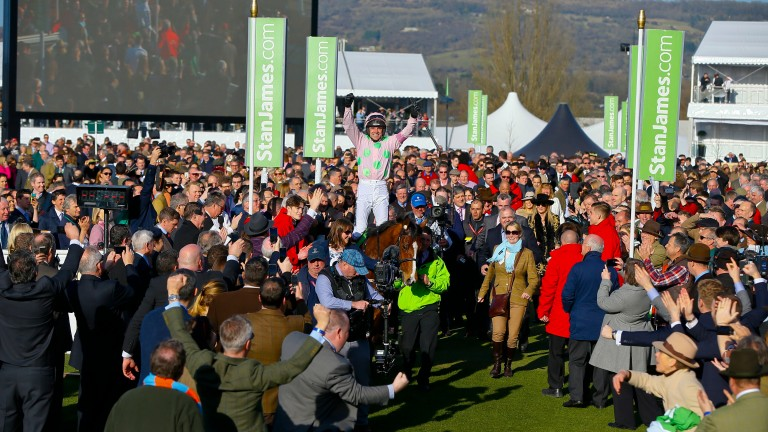 Ruby Walsh and Faugheen are led in after winning the 2015 Champion Hurdle