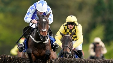Walsh and Kemboy lead Paul Townend on Al Boum Photo over the final fence in the Coral Punchestown Gold Cup