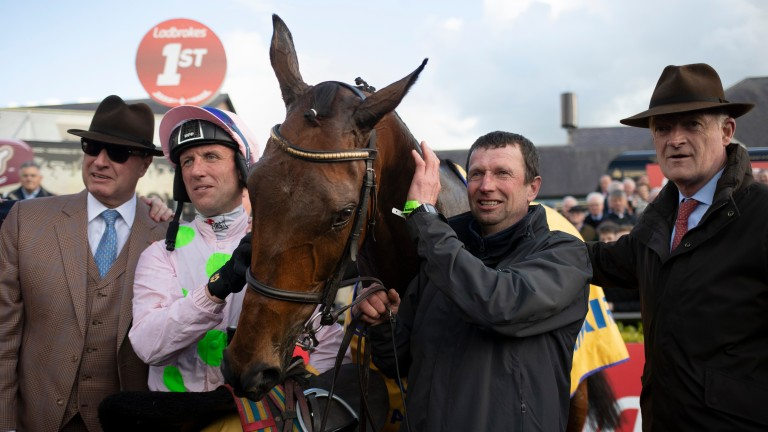 Chacun Pour Soi and Robbie Power wins the Ryanair Novice Chase (Grade 1). Punchestown Festival.Photo: Patrick McCann/Racing Post 02.05.2019