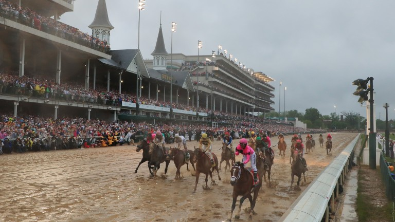Maximum Security passes the post in front in the Kentucky Derby but was later demoted