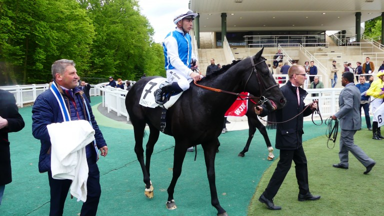 Flop Shot and Maxime Guyon after winning the Group 3 Prix de Guiche at Chantilly