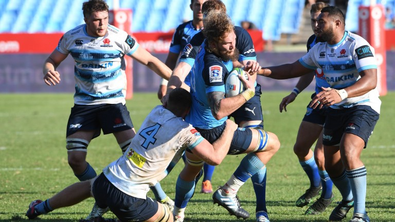 South Africa lock RG Snyman on the charge for the Bulls against the Waratahs