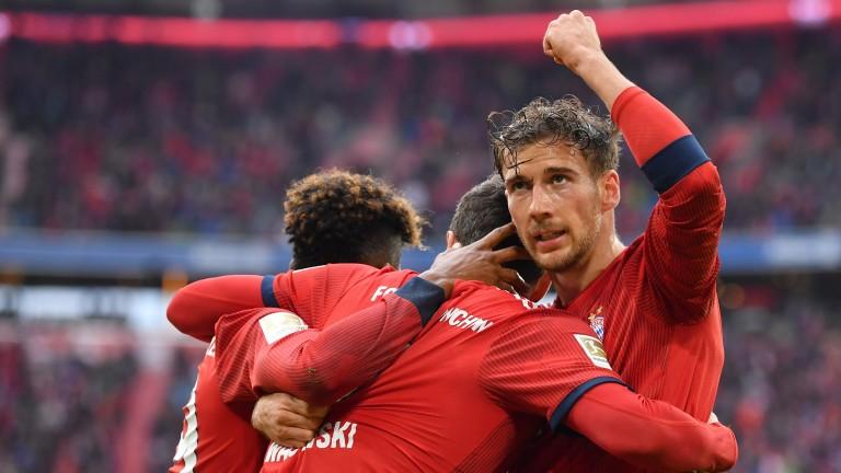 Robert Lewandowski celebrates with his Bayern Munich teammates