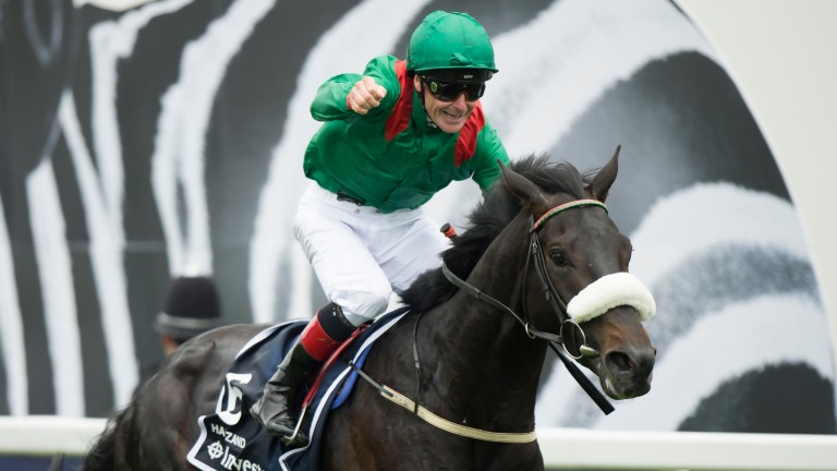 Career high: Pat Smullen punches the air as he wins the 2016 Investec Derby on Harzand