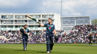 Jos Buttler salutes the crowd after his century against Pakistan at the Rose Bowl