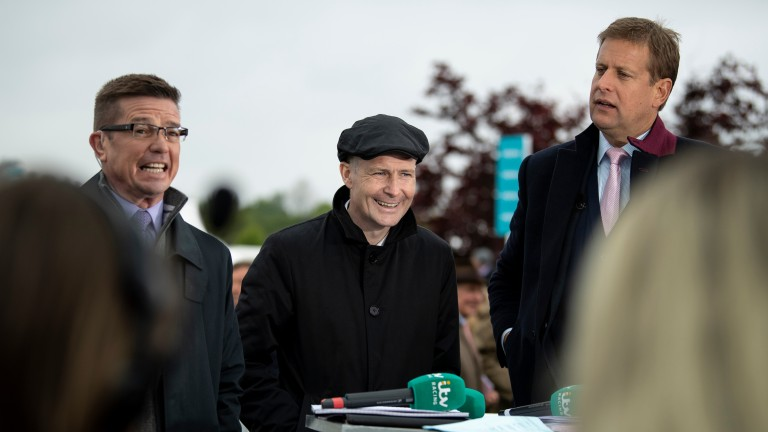 Pat Smullen, pictured on the ITV Racing team with Jason Weaver (left) and Ed Chamberlin