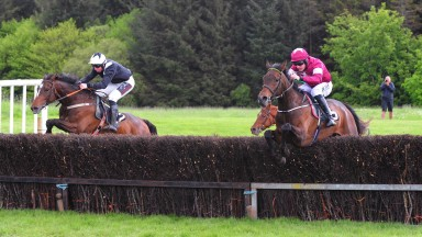 Necarne PTP 11-5-19 BATTLE OF ACTIUM & Barry O'Neill (right) Jump the last to win the 4YO Geldings Maiden Race from GONDOR & Jamie Codd (left).(Photo Healy Racing)
