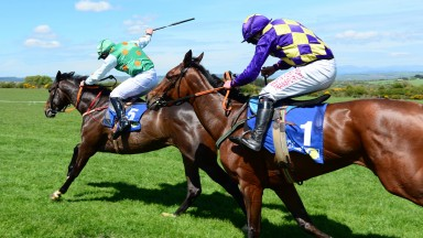Bartlemy PTP 12-5-19 FANTASIA ROQUE & Rob James make all the running to win the 4YO Mares Maiden Race from CLONDAW CAITLIN & Shane Fitzgerald.(Photo Healy Racing)
