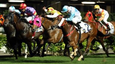 Ruletheroost (cheekpieces) scores under jockey Umberto Rispoli at Happy Valley last month