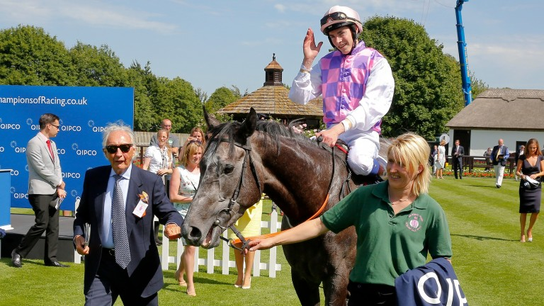 Sir Robert Ogden leads Amazing Maria in after her 2015 Falmouth Stakes victory