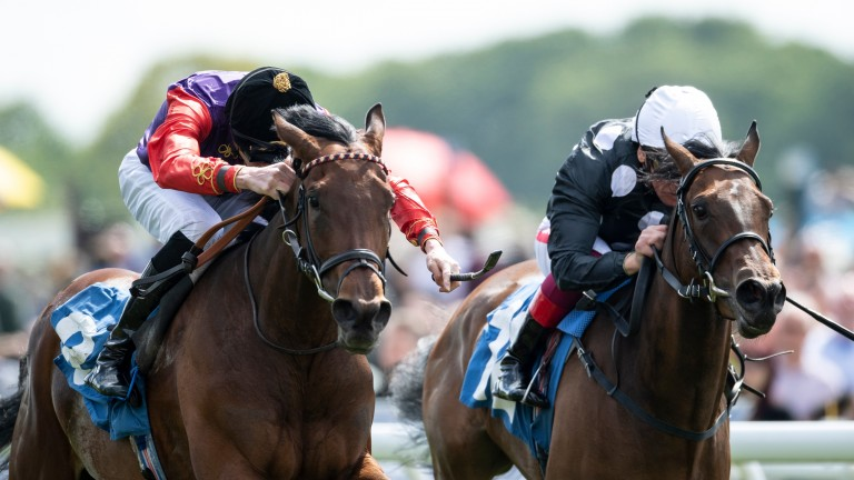 Magnetic Charm (James Doyle,left) wins the 1m listed fillies race from Twist 'n' Shake (Frankie Dettori)York 17.5.19 Pic: Edward Whitaker