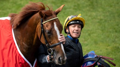 Stradivarius (Frankie Dettori) after the Yorkshire Cup York 17.5.19 Pic: Edward Whitaker
