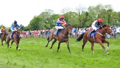 19-5-19 BALLINDENISK PTP STRENGTHOFMIND and Declan Queallhy (right) win the 4yo Maiden from Dreal Deal (centre).Healy Racing Photo