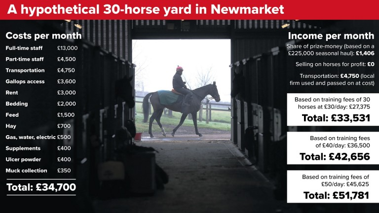 A hypothetical 30-horse yard in Newmarket