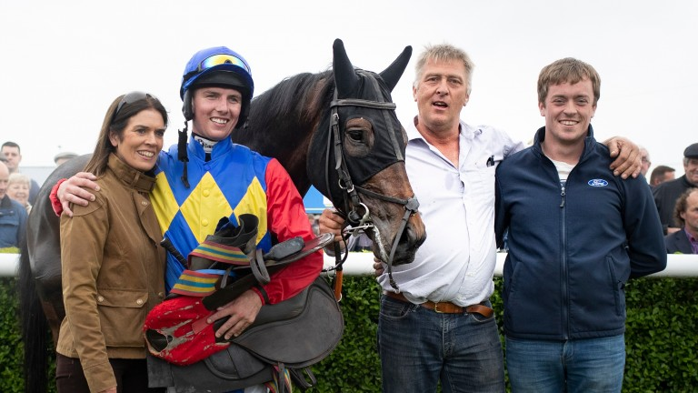 Tom Shanahan (second from right) with Charle Brune and winning jockey Donagh Meyler following the horse's victory at Tipperary on Thursday