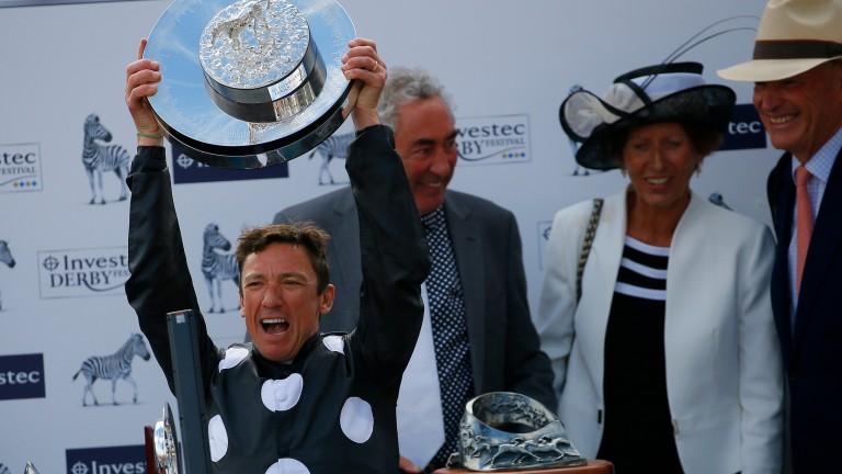Frankie Dettori celebrates after winning a fifth Oaks on Anapurna