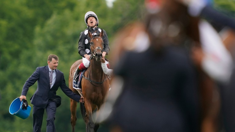 An exultant Frankie Dettori celebrates Oaks victory aboard the well-bred Anapurna