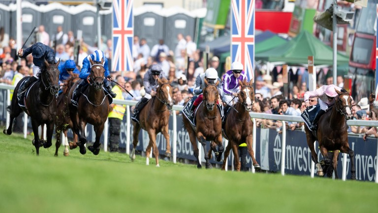 Anthony Van Dyck (right) pushes ahead in a thrilling Derby finale